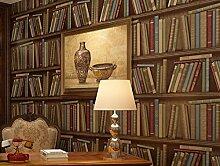 Fyios Moderne Chinesische Tapete Retro Bücherregal Wasserdicht Wallpaper Schlafzimmer Wohnzimmer Wohnzimmer Tv Hintergrund Mauer, Kaffee