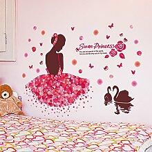 FYOUYOU Swan Princess Wandsticker Mädchen Kinderzimmer Dekoration 84 * 116 Cm