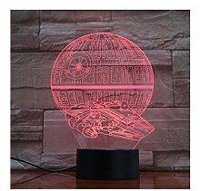 Fyyanm Todesstern Falcon Lampe 7 Farben 3D Led