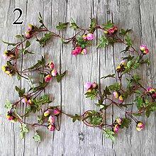 FYYDNZA 1 Stücke Herbst Simulation Rose Reben Hochzeit Dekoration Gefälschte Blumen Kleine Rose Rattan Für Den Garten Und Den Garten, 2