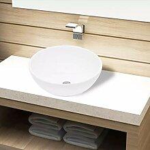 FZYHFA Waschbecken aus Keramik, rund, Weiß