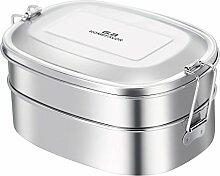 G.a HOMEFAVOR Edelstahl Brotdose 2-in-1 Lunchbox