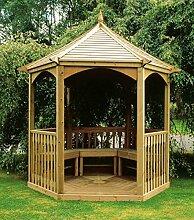 G&C Brompton – sechseckige Gartenlaube aus Holz mit Boden und Balustraden – Maße: 240 x 208 x h295 cm