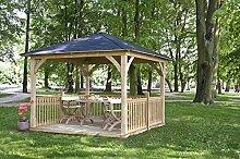 G&C Cotswold – Klassischer Holzpavillon mit Bitumenschindeldach – mit Boden und Balustraden – Maße: 3.34 x 3.34m
