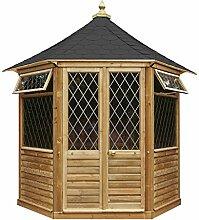 G&C Georgian – sechseckiges Gartenhaus aus Holz mit Türen und Fenstern (h295 x 240 x 208 cm)
