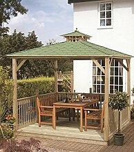 G&C Lindrick – viereckiger Holzpavillon mit Bitumenschindeldach (2.70x2.70m)