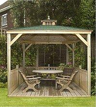 G&C Lindrick – viereckiger Holzpavillon mit Bitumenschindeldach – mit Boden und Balustraden (2.70x2.70m)