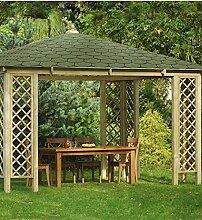 G&C Rimini – großräumige, viereckige Gartenlaube mit Dachschindeln – Grün oder Schwarz, Maße: 4.0 x 4.0 x h 3,1m