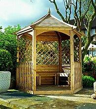 G&C Winchester – sechseckige Gartenlaube aus Holz mit Boden, Seitengittern und Balustraden – Maße: 270 x 234 x h 310 cm