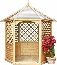 G&C Winchester – sechseckige Gartenlaube aush Holz – mit Boden, Rankgitter und Balustraden – Maße: 240 cm x 208 cm x h300cm