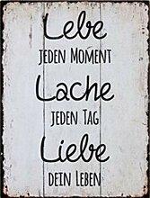 G.H. Vintage Retro Blechschild mit Spruch: LEBE