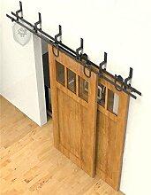 G&J 12ft/3654mm Rustikal Stil Schiebetüren Hardware Single Rad Hufeisen U-förmig NebenStraße Bypass Barn Holz Schiebetür Doppeltür Holz Tür Hardware Closet Set,Stahl Schwarz, (Zollgebür entschlossen)
