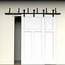 G&J Schiebetüren 15ft/4572mm Rundes Design Simpel Stil NebenStraße Bypass Oben montiert Barn Holz Schiebetür Für Schrank Doppeltür Holz Tür Hardware Closet Set,Stahl Schwarz, (Zollgebür entschlossen)