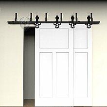 G&J Schiebetüren 5ft/152.4cm-16ft/487.6cm Bullekopf Design Rustikal Stil NebenStraße Bypass Oben montiert Barn Holz Schiebetür Doppeltür Holz Tür Hardware Closet Set,Stahl Schwarz, (Zollgebür entschlossen) (13ft/3962mm)