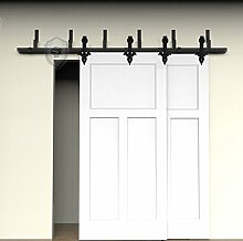 G&J Schiebetüren hardware Schiebetüren hardware Blume Design Königlich Stil NebenStraße Bypass Oben montiert Barn Holz Schiebetür Doppeltür Holz Tür Hardware Closet Set,Stahl Schwarz,10ft/3048mm (Zollgebür entschlossen)