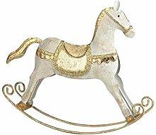 G&S Schaukelpferd aus Metall Farbe Weiß & Gold