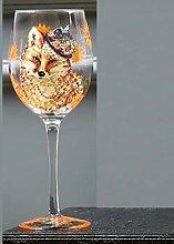 G.TZ-Wine Glass Handgemaltes Weinglas Fox Rot &