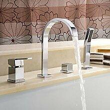 G&Z 4-Loch Badezimmer Mischbatterie mit Dusche Schlauch Barss Spüle Wasserhahn Edelstahl Auslauf verchromt Finish