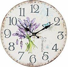 G1107: Lavendel Wanduhr im Landhausstil, Romantische Uhr mit Lavendelstrauß