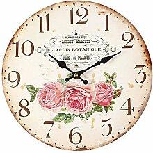 G1249: Französische Romantik Wanduhr, Jardin Botanique mit Rosenblüten