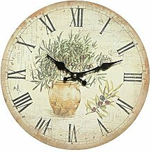 G1251: Mediterrane Landhaus Wanduhr, Retro Küchenuhr, Olivenzweige mit Oliven