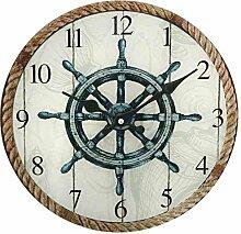 G2790: Maritime Wanduhr mit Steuerrad und Tauwerk Motiv, Seemanns Uhr aus Glas