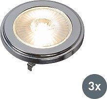 G53 AR111 LED Lampe 10W 800LM 3000K dimmbar 3er-Set