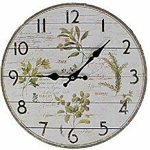 G60: Wanduhr Kräuter der Provonce, Küchen Uhr Küchenkräuter, Landhaus Wanduhr