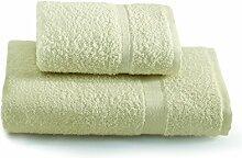 Gabel Handtuch-Set mit Gästehandtuch, Uni, 100% Baumwolle, 3,3x 27x 36cm 3.3x27x36 cm Ecru'