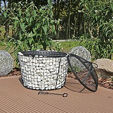 Gabionen Feuerkorb mit Grillfunktion Feuerstelle Steinkorb Gartengrill mit Funkenschutzhaube