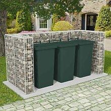 Gabionen-Mülltonnenverkleidung für 3 Tonnen