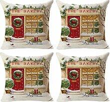 Gaddrt 4PCS Weihnachten Kissenbezug Weihnachtsmann Leinen Bettwäsche Baumwolle Malerei Throw Kissenbezug Sofa Bett Kopfkissen Heimtextilien Home Decor