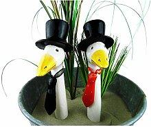 Gänsehals, Gartenstecker auf Stab oder Gartenzaun, Keramik, Höhe 22cm - sehr dekorativ - ohne Stab (Zylinde und Krawatte)