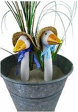 Gänsehals, Gartenstecker auf Stab oder Gartenzaun, Keramik, Höhe 22cm - sehr dekorativ - ohne Stab (Strohhut)