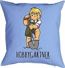 Gärtner Comic Motiv Kissenbezug - Gartendeko : Hobbygärtner by Gali -- Kissen ohne Füllung -- Farbe: hellblau