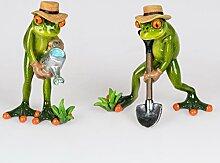 Gärtner Frosch Figuren mit Spaten und Gießkanne - (grün - Gärtner Set Spaten)
