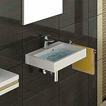 Gäste WC Waschbecken Hängewaschbecken Mineralguss Waschtisch Eckig Aufsatzbecken
