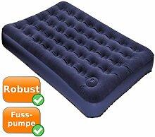 Gästebett ideal als Gästematratze für zu Hause, als Reisebett oder für den Campingurlaub, integrierte Fußpumpe, Velour beflockt, blau - 191 x 137 x 22cm