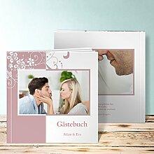 Gaestebuch Hochzeit, Garten der Träume 96 Seiten, 48 Blatt, Hardcover 215x215 mm personalisierbar, Lila