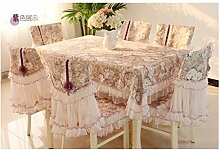 GAIHU Table Cloth Lace Fabric Rectangle Tablecloth Simple Rural waterproof (Color : #1)