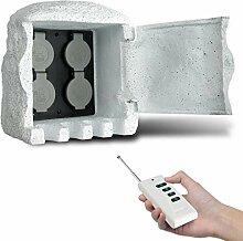 Funkgesteuerter Steckdosenverteiler 2-fach mit Fernbedienung Erdspieß