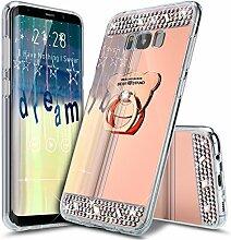 Galaxy Note 8 Hülle,Galaxy Note 8 Schutzhülle,Galaxy Note 8 Case,ikasus® [Bling Glitzer Kristall Strass Diamant Spiegel Hülle] Galaxy Note 8 Silikon Hülle [Überzug BärStand Holder],Glänzend Glitzer Kristall Strass Diamanten Überzug Mirror Spiegel Mit Bär Ständer Halter Stoßdämpfend TPU Silikon Schutz Handy Hülle Case Tasche Silikon Crystal Case Schutzhülle Etui Bumper für Samsung Galaxy Note 8 - Rose Gold