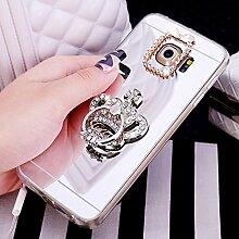 Galaxy S7 Hülle,Galaxy S7 Schutzhülle,Galaxy S7 Case,ikasus® [Bling Glitzer Kristall Strass Diamant Spiegel Hülle] Galaxy S7 Silikon Hülle [Glitzer Strass Ring Stand Holder],Glänzend Glitzer Kristall Strass Diamanten Überzug Mirror Spiegel Mit Ring Ständer Halter Stoßdämpfend TPU Silikon Schutz Handy Hülle Case Tasche Silikon Crystal Case Schutzhülle Etui für Samsung Galaxy S7 - Silber Krone