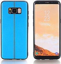 Galaxy S8 Hülle, TechCode Premium PU Leder Leichte Luxus Stilvolle Klassische Slim Fit Retro Ultra Thin Full Body Schutzhülle Hülle für Galaxy S8 (Blau)