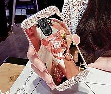 Galaxy S9 Hülle,Galaxy S9 Schutzhülle,Galaxy S9 Case,ikasus® [Bling Glitzer Kristall Strass Diamant Spiegel Hülle] Galaxy S9 Silikon Hülle [Überzug BärStand Holder],Glänzend Glitzer Kristall Strass Diamanten Überzug Mirror Spiegel Mit Bär Ständer Halter Stoßdämpfend TPU Silikon Schutz Handy Hülle Case Tasche Silikon Crystal Case Schutzhülle Etui Bumper für Samsung Galaxy S9 - Rose Gold