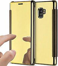 Galaxy S9 Plus Hülle,Galaxy S9 Plus Schutzhülle,Galaxy S9 Plus Spiegel Schutzhülle,ikasus® Ultra-Slim Plating Überzug Kristallklar Durchsichtig Transluzent Clear View Handyhülle Spiegel Flip Clear View Standing magnetisch Klapphülle Klappbar Spiegel Schutzhülle Handytasche Shell Schutz Handy Tasche Flip Hard Case Cover Hülle für Samsung Galaxy S9 Plus - Gold