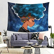 Galaxy Starry Afro Sexy Lady Blue Hair Girl