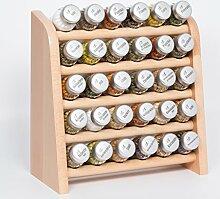 Gald Gewürzregal, Küchenregal für Gewürze und Kräuter, 30 Gläser, Holz, Naturell/matt, 31.5 x 34.5 x 14.5 cm