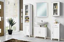 Galdem Badmöbel-Set mit Spiegel Waschbeckenunterschrank Hochschrank Hängeschrank Seitenschrank Badezimmer MDF Echtholz Weiß (Echtholz mit Spiegel)