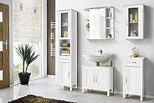 Galdem Badmöbel-Set mit Spiegel Waschbeckenunterschrank Hochschrank Hängeschrank Seitenschrank Badezimmer MDF Echtholz Weiß (MDF mit Spiegelschrank)